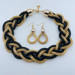 Braided Mesh Black/Gold Necklace and Earring Set